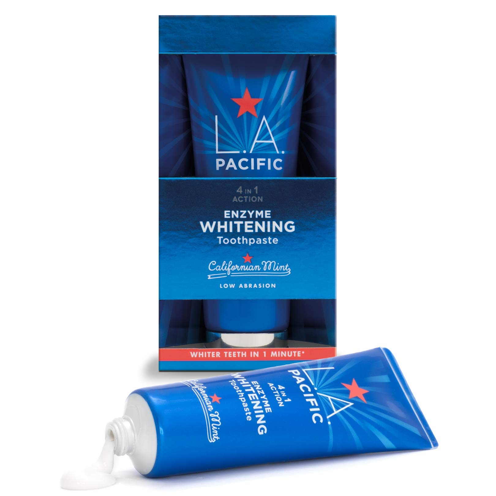 L.A.PACIFIC Enzyme Teeth Whitening Toothpaste - Clinically Proven To Whiten Teeth in 60 seconds - Californian Mint Flavour Will Give Your Teeth That Instant Clean Feel - No Harsh Chemicals Or Abrasion