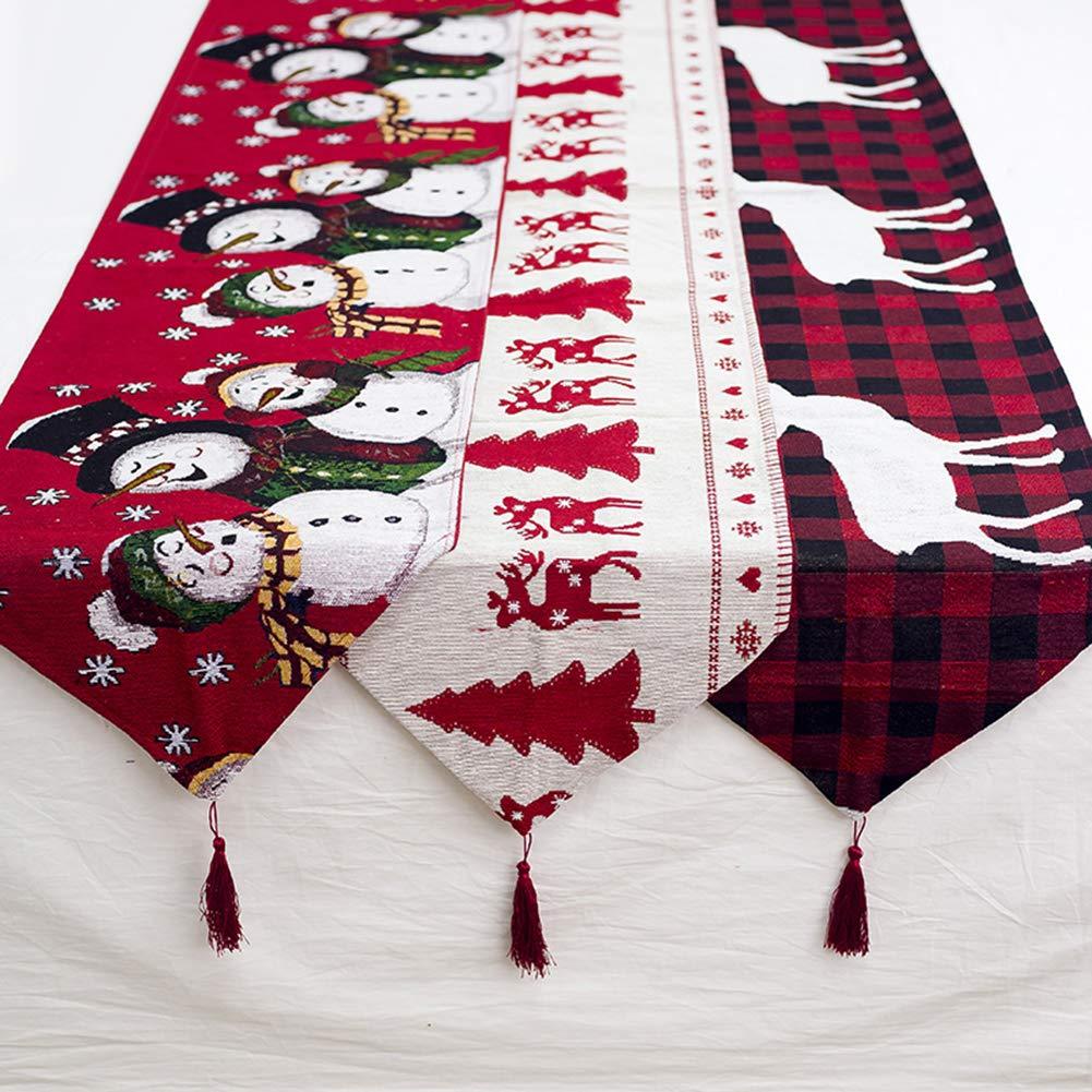 tWUJl4SXJ Christmas Cotton and Linen Embroidery Table Flag Xmas Snowman Elk Tree Decoration Tablecloth Party Table Coffee Table Decoration 1