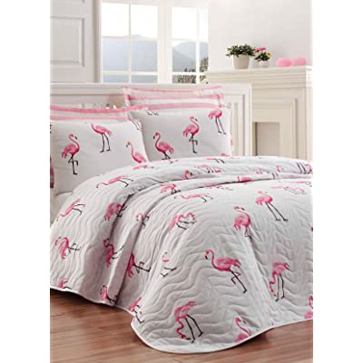 DecoMood Birds Bedding, Flamingo Themed Single/Twin Size Bedspread/Coverlet Set, Flamingo Themed Girls Bed Set, 2 Pieces: Home & Kitchen