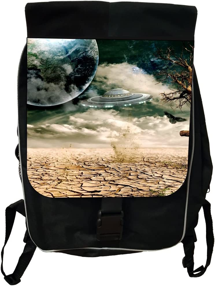 Black School Backpack /& Pencil Bag UFO From Outer Space Scene