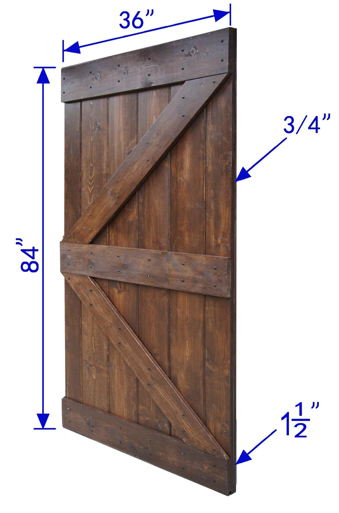 WELLHOME 6.6 FT Sliding Hardware Kit+ 36inX84in K Series DIY Solid Interior Barn Knotty Wood Painted Door (Dark walnut) by WELLHOME (Image #6)