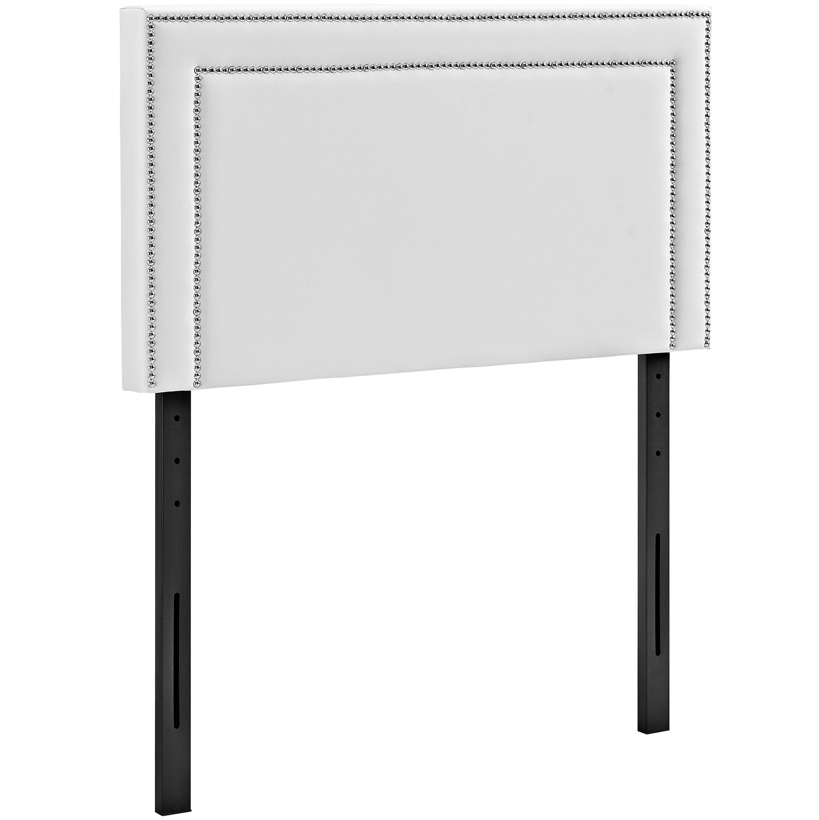 Modway Jessamine Faux Leather Upholstered Twin Headboard in White with Nailhead Trim