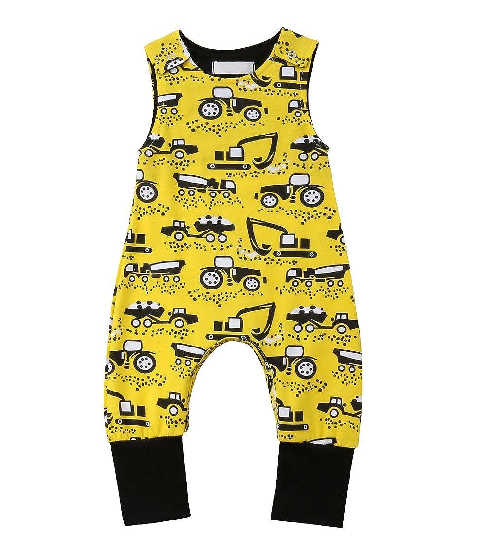 rechange Baby Boys Motorcycle Excavator Print Romper Sleeveless Bodysuit Pants Newborn Infant Jumpsuit Playsuit