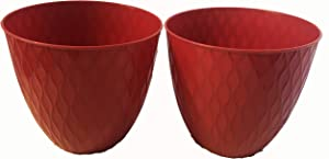 Decorative Ripple Textured Pot 2pk (Red)