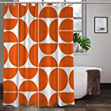 Mid Century Modern Geometric Orange Shower Curtains with 12 Hooks,Durable Polyester Fabric Bathroom Curtain 72x 72inches