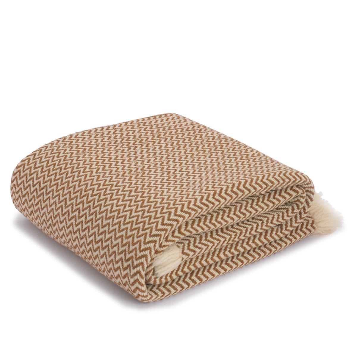 PERELIC Handgefertigte Wolldecke mit Zick-Zack-Muster aus 100% reiner Schurwolle, ca 150 x 200cm, 2000g, wollweiß-ocker