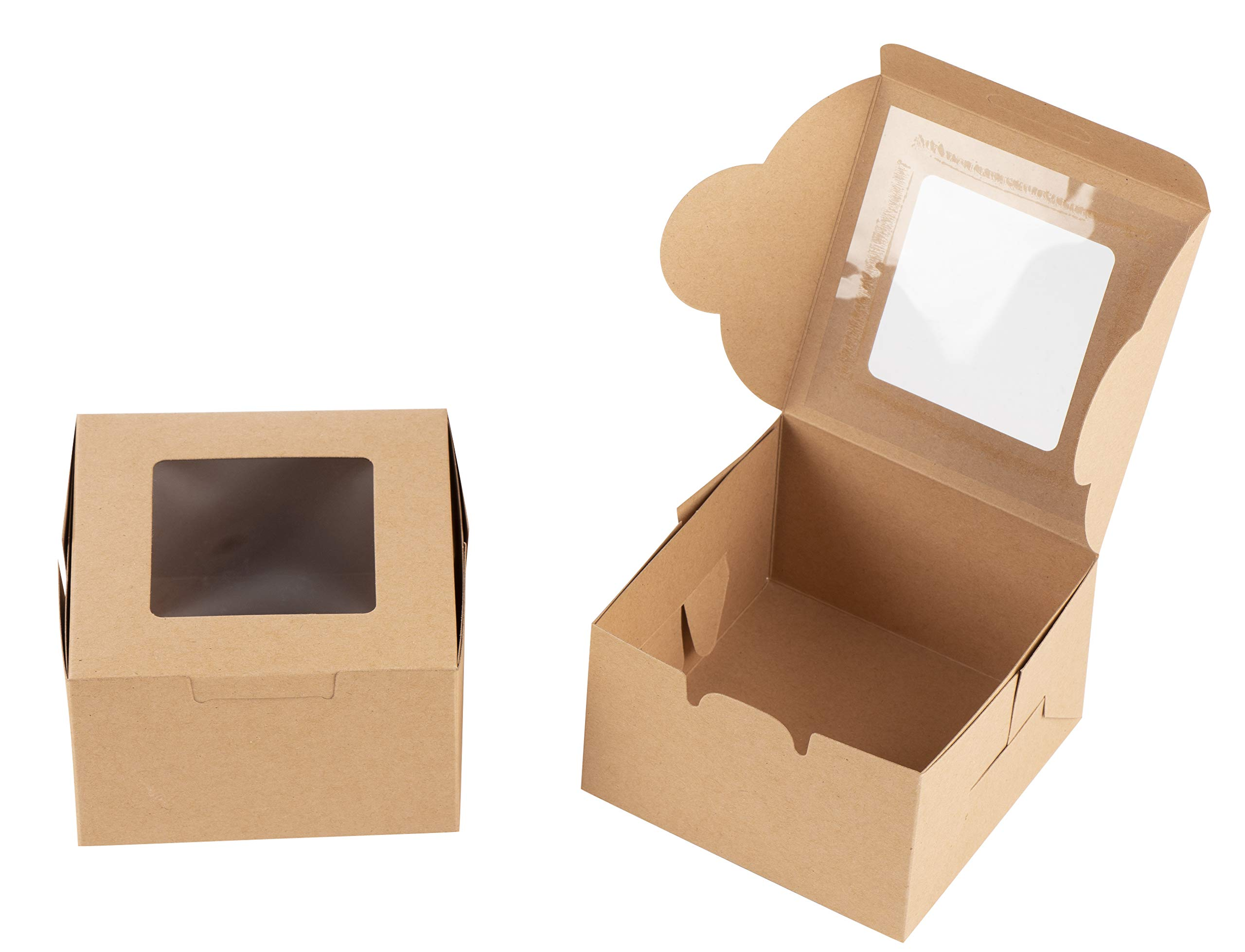 Kraft Paper Bakery Boxes - 50-Pack Single Pastry Box 4-Inch Packaging with Clear Display Window, Donut, Mini Cake, Pie Slice, Dessert Disposable Take-Out Container, Holds 1, Brown, 4 x 2.3 x 4 Inches by Juvale (Image #4)