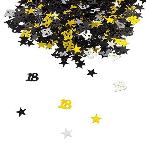 Oblique Unique 18 Geburtstag Jubiläum Konfetti Gold Silber Schwarz Sterne Tisch Deko 500 Stück