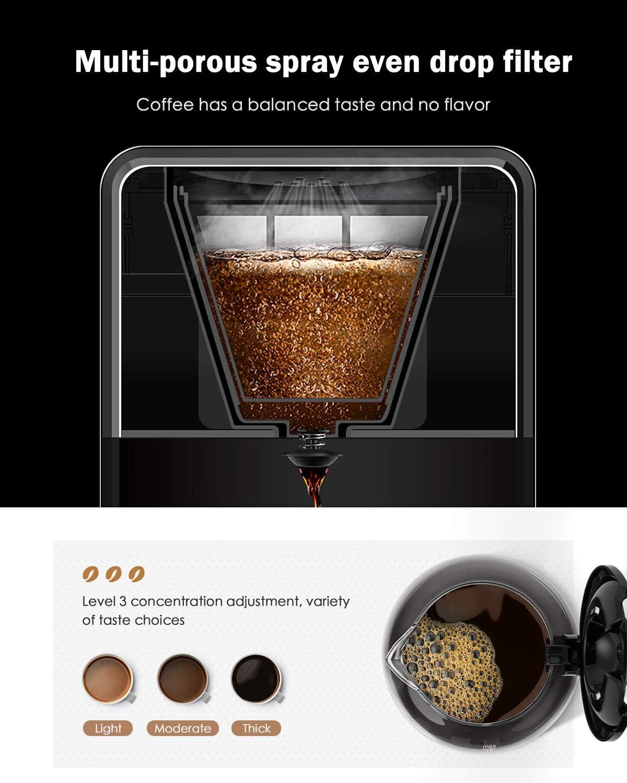 Homever Kaffeemaschine Kaffeemaschinen mit Anti-Drip-Funktion Filterkaffeemaschine mit Timer und Permanentfilter silber-schwarz bis 12 Tassen Touchscreen und Hochwertiger Edelstahl