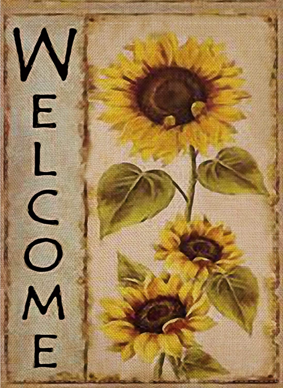 Selmad Welcome Sunflower Garden Flag Farm Sunshine Flower Double Sided, Fall Floral Rustic Burlap Decorative House Yard Decoration, Autumn Seasonal Sweet Home Outdoor Vintage Décor 12 x 18 Summer
