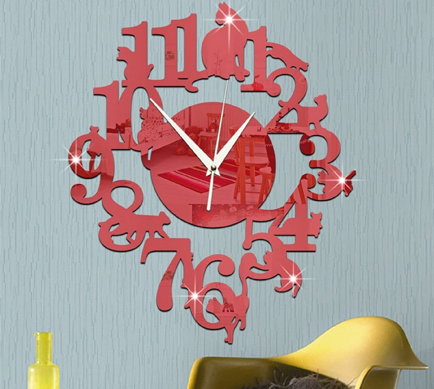 Amazon.com: (Red Color) NEW home decor wandklok creative wall watch reloj Acrylic Cats Lovery large 3d vintage wall clocks modern design murale reloj pared: ...