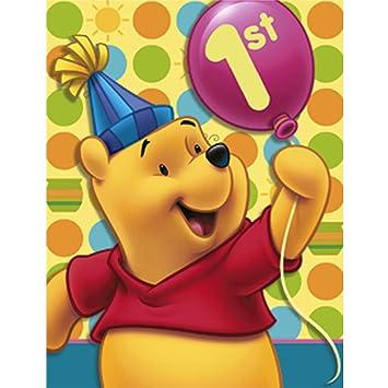 Amazon Com Winnie The Pooh Balloon 1st Birthday Invitations W