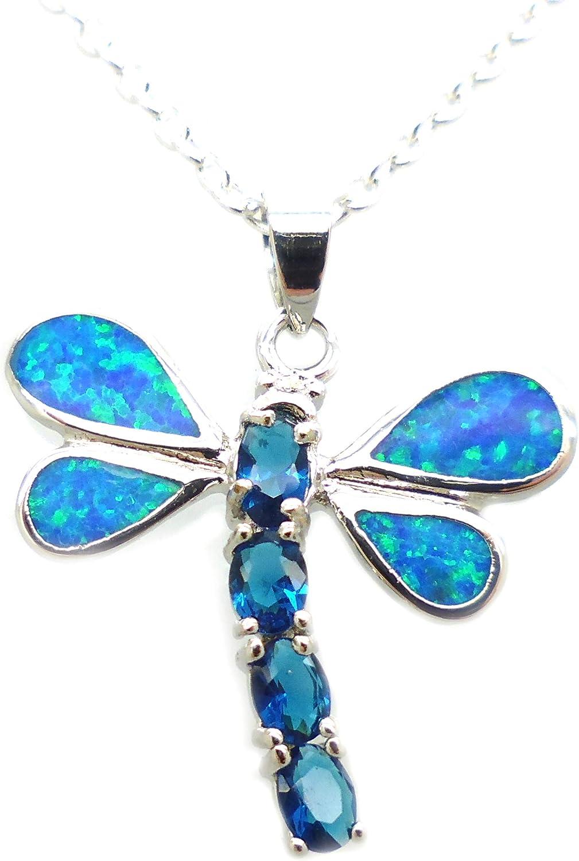 Tanglz - Colgante de libélula de ópalo de fuego azul y plata 925/1000, piedra natural para armonizar la energía.