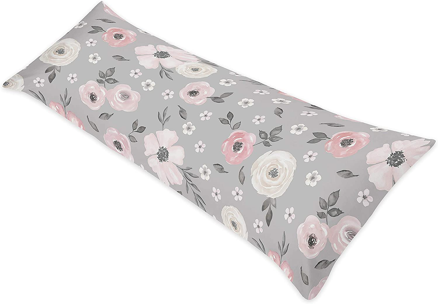 Sweet Jojo Designs Grey Watercolor Floral Body Pillow Case Cover (Pillow Not Included) - Blush Pink Gray and White Shabby Chic Rose Flower Polka Dot Farmhouse