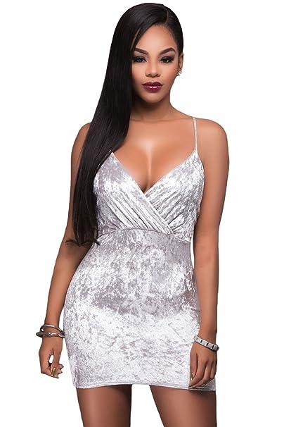 Davani Vestido Terciopelo Tirantes Finos Blanco L: Amazon.es: Ropa y accesorios