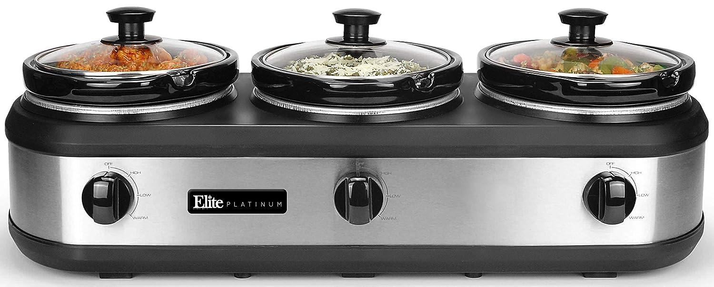 Elite Platinum EWMST-612 Triple Slow Cooker Buffet Server, Adjustable Temp Dishwasher-Safe Oval Ceramic Pots, Lid Rests, 3 x 2.5Qt Capacity, 7.5 QT, Stainless Steel (Renewed)