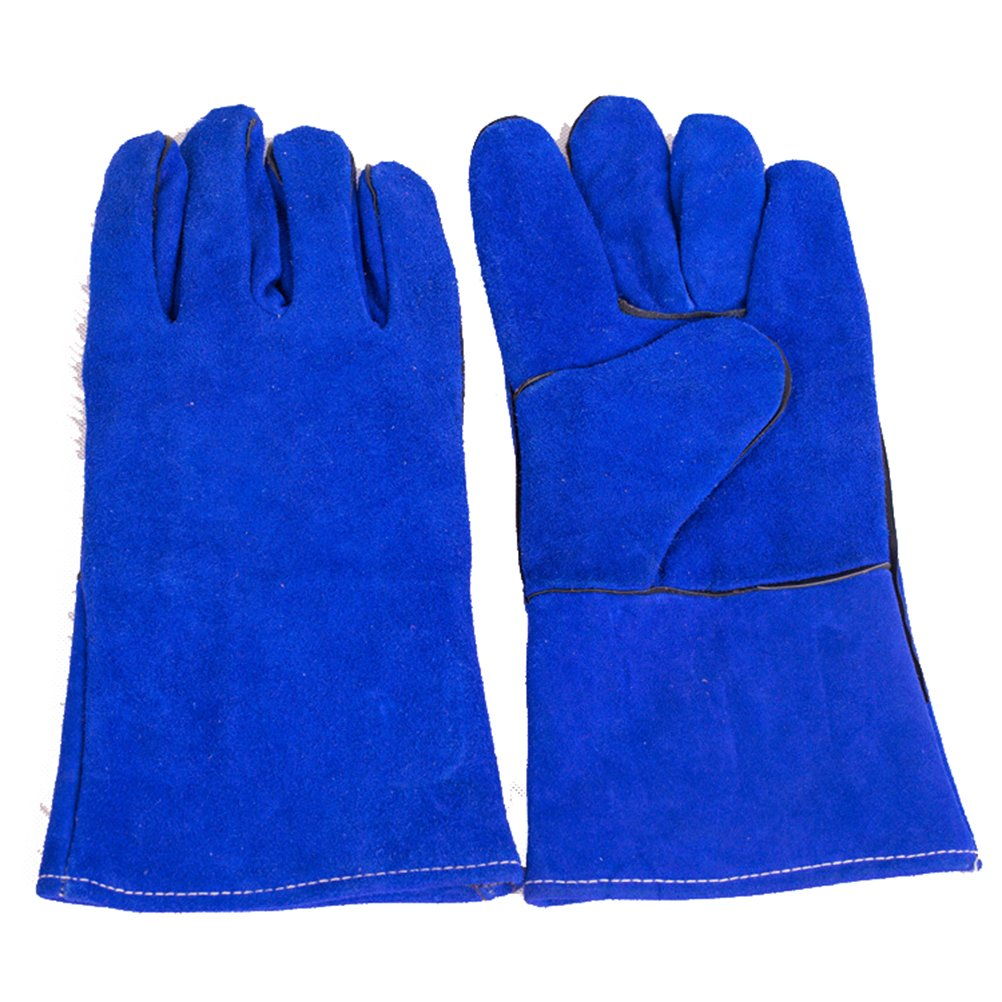 Blue 14 Inch Welding Gloves Heat Resistant Lined Leather for Mig Tig Welders