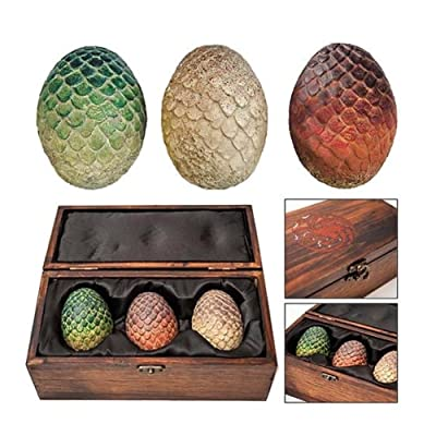 Animewild Game of Thrones Dragon Egg Prop Replica Set in Wooden Box: Toys & Games