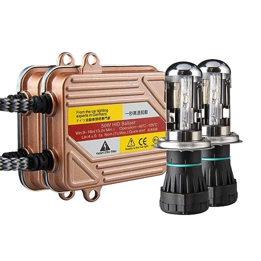 2 opinioni per Koyoso Lampadine H4 Kit Bi-Xenon HID 8000K 50W Slim Centraline Lampade di Avvio