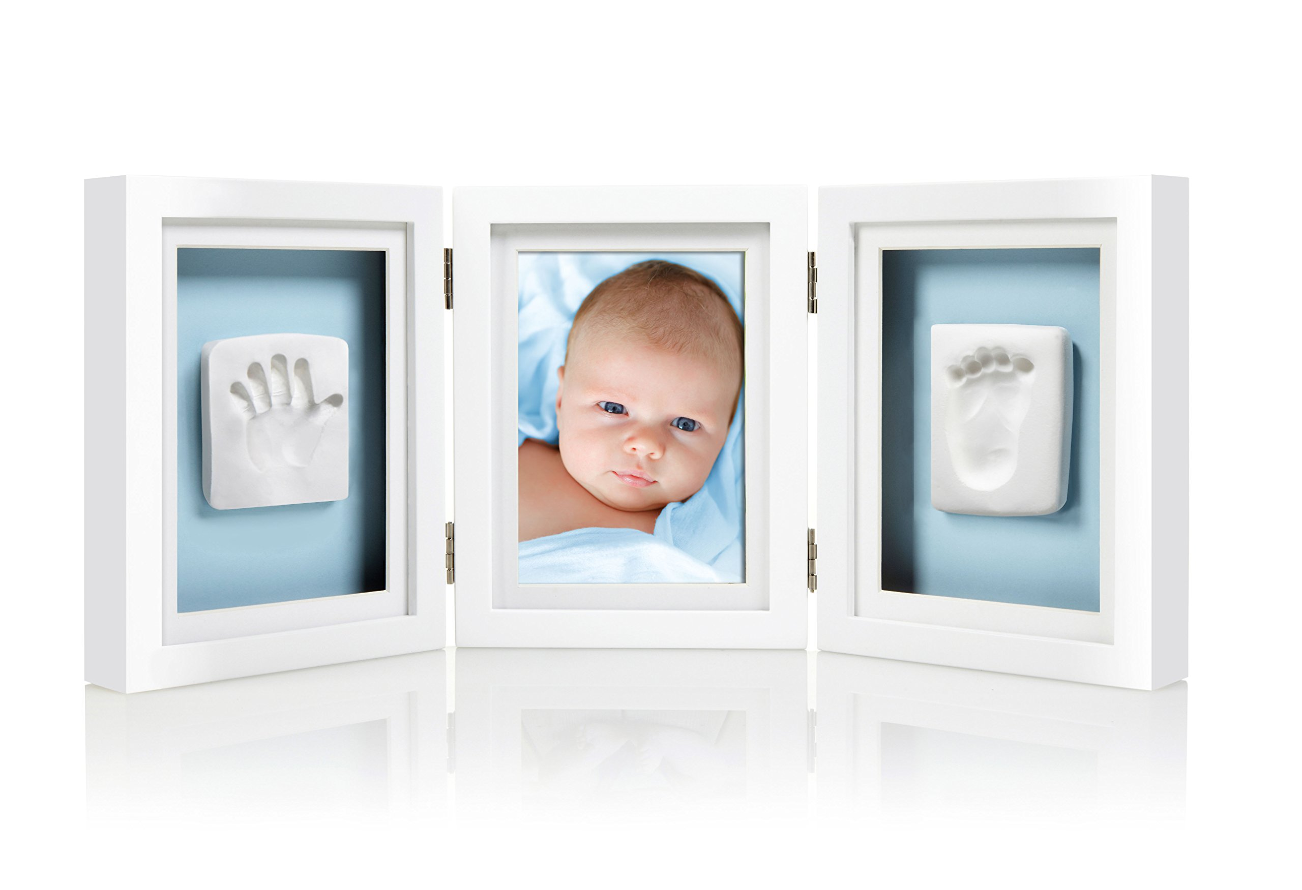 Pearhead Babyprints Newborn Baby Handprint and Footprint Deluxe Desk Photo Frame & Impression Kit - Makes A Perfect Baby Shower Gift, White by Pearhead