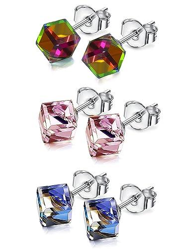 JDGEMSTONE Square Cubic Swarovski Crystal Stud Earrings Blue Pink Magic Stud  Earring for Women Jewellery Earrings 360a05a30ad3
