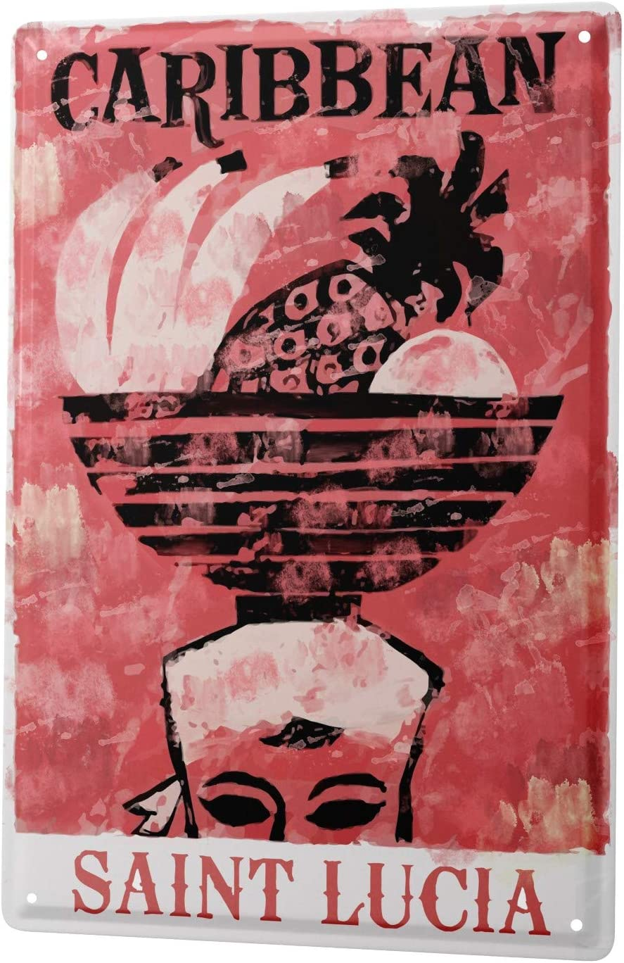 LEotiE SINCE 2004 Plaque en M/étal M/étallique Poster Mural tin Sign Globetrotteur Saint Lucuia Cara/ïbes Bol de Fruits sur la t/ête