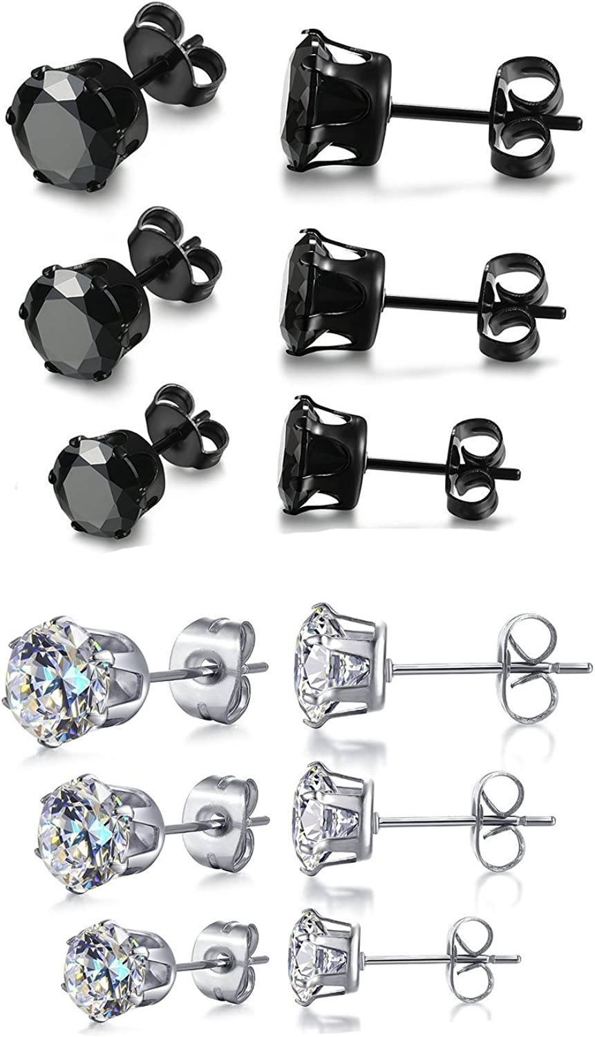 6 Pair Stainless Steel Mens Womens Stud Earrings Set Black and Clear Round Cubic Zirconia Inlaid Pierced Hypoallergenic 3-5mm(12PCS,3 Pairs Black,3 Pairs Clear)