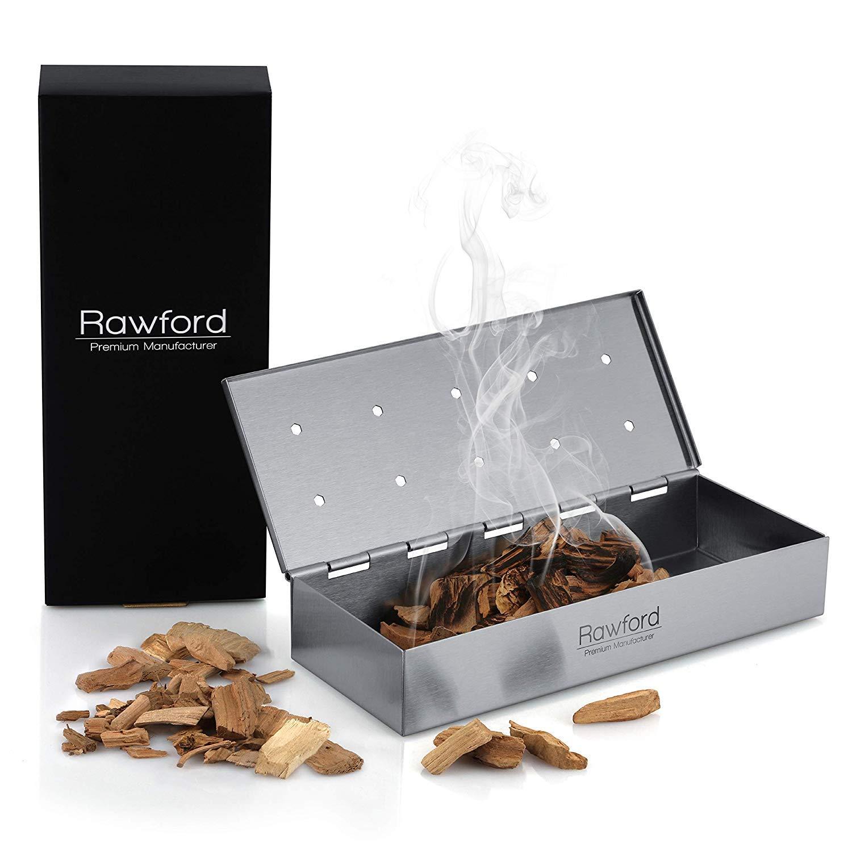 Rawford Smokerbox - Premium Räucherbox für ein ganz besonderes Räucheraroma - Hochwertiges Grillzubehör für Gasgrill inkl. Pflegeanleitung - Smoker Box | Grillbox | Räuchern im Grill (stainless steel)