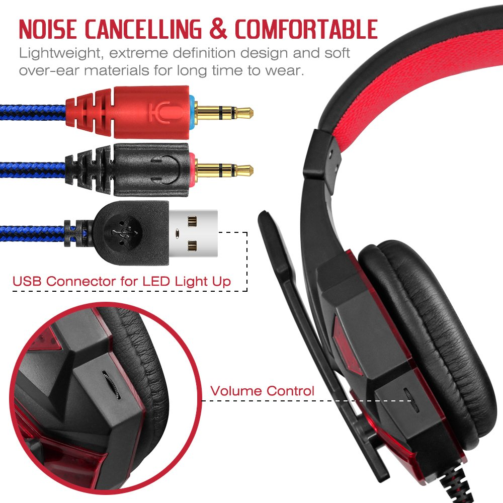 bebbd559e52 Amazon.com  Gaming Headset with Mic and LED Light for Laptop Computer