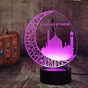 New Ramadan Mubarak Islam Blessing Best Wishes Greetings 3D Night Light Blessing Best Wishes Islam Greetings LED Sleeping Lamp Home Decor Friend Birthday Christmas Lampara (Ramadan Mubarak)