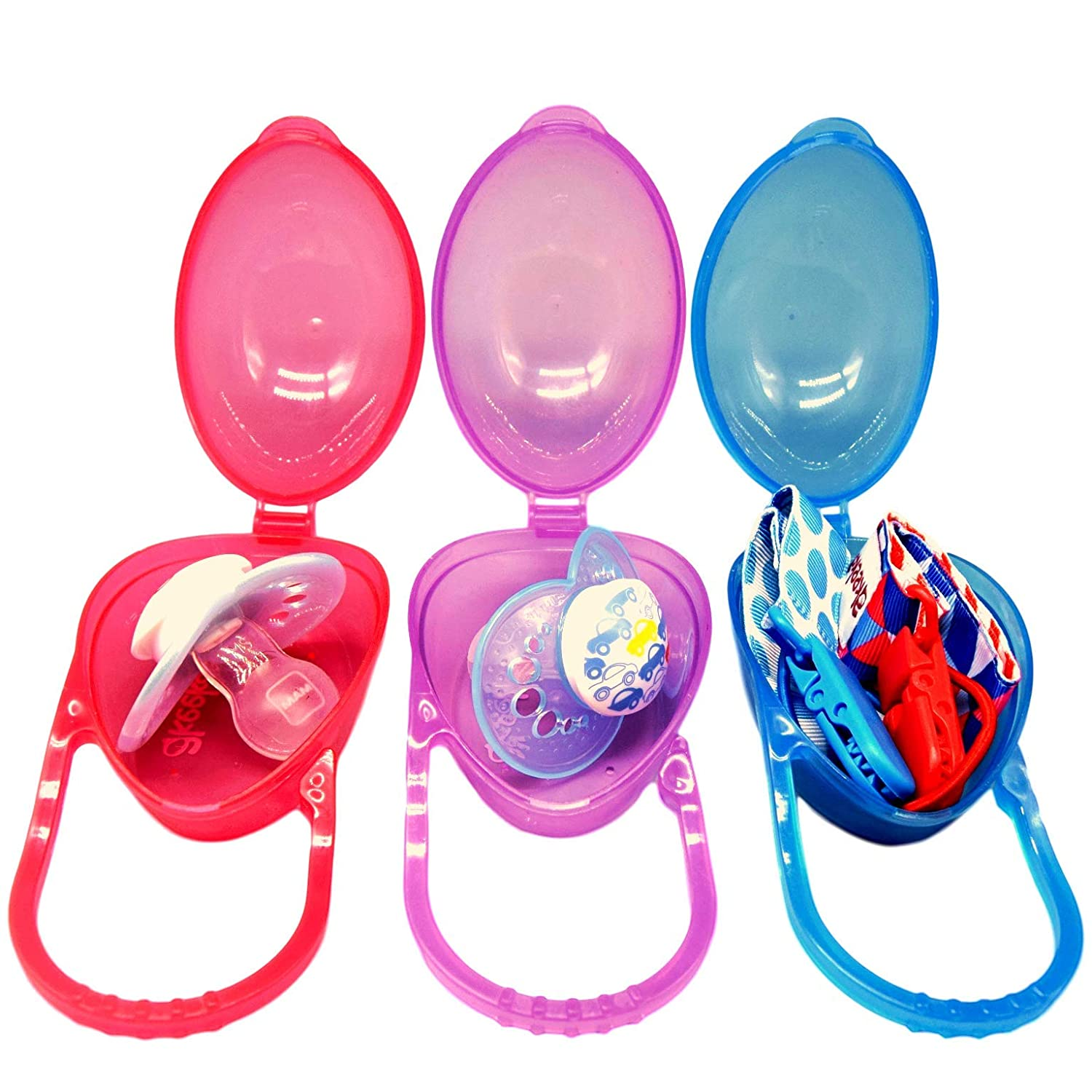 Easy-Clean Dummy Box and Pacifier Holder with Cute and Colourful Designs 3 Pack Purple /& Blue Safe BPA-Free and Versatile Soother Case with Free Mesh Bag Baby Dummy Case by Akeekah Red