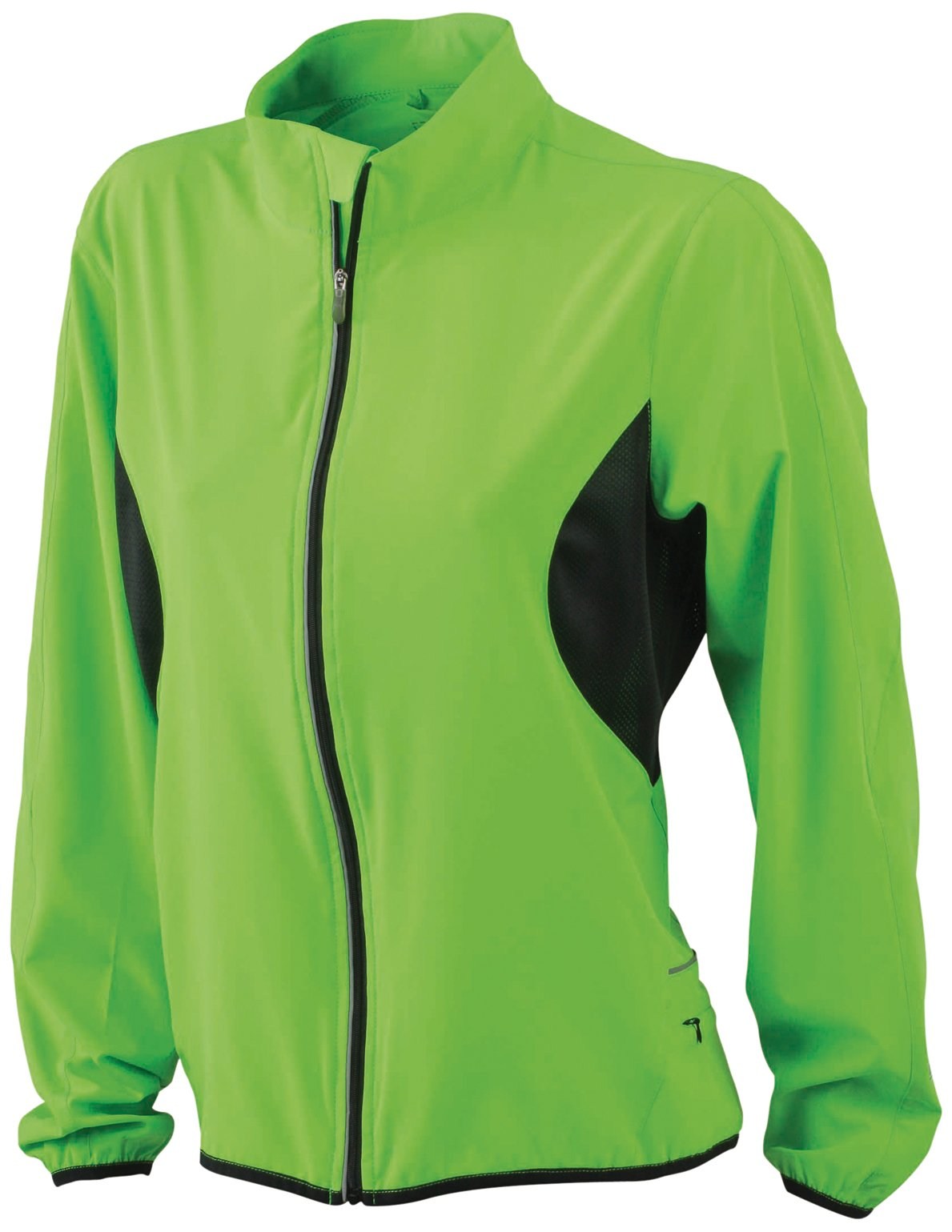 James & Nicholson Women's Running Jacket, Fluogreen/Black, Medium by James & Nicholson (Image #1)