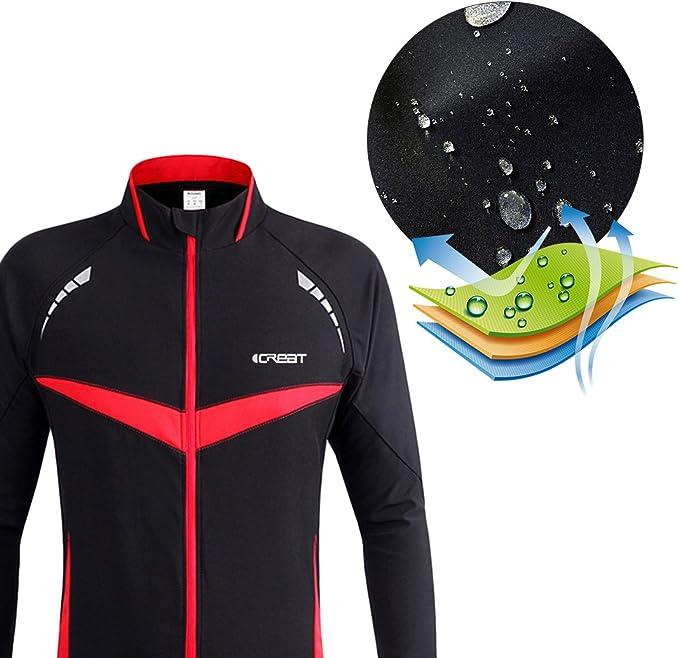 reflectante tallas S hasta XXL impermeable iCREAT Chaqueta para hombre Air Jacket resistente al viento forro polar c/álido para oto/ño para mountain bike