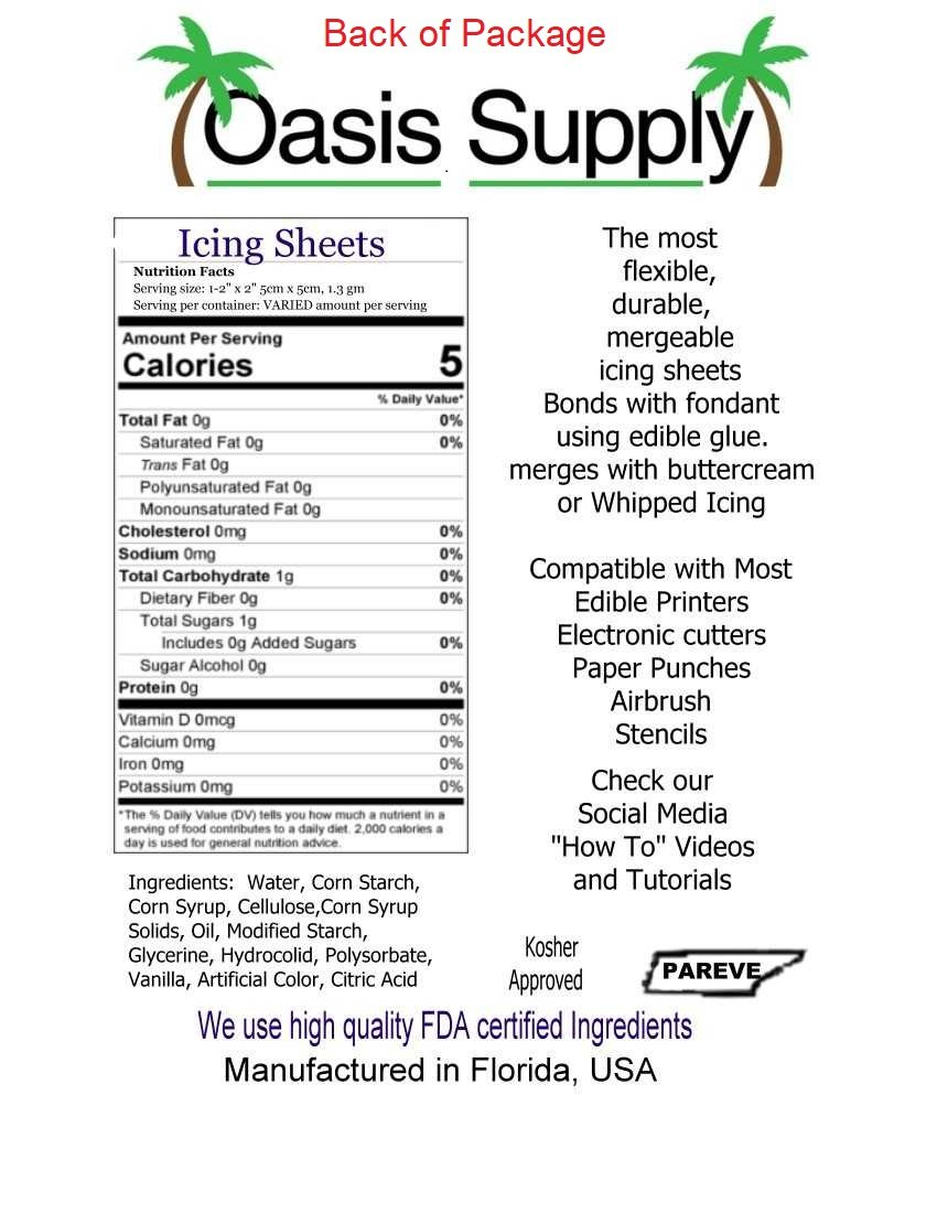 Oasis Supply Edible, Ultra Flexible Icing Sheets, White, 12 count by Oasis Supply