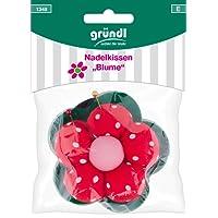 Gründl Nadelkissen Blume, Baumwolle, Polyester, Rot Grün Pink, 14 x 10 x 3 cm