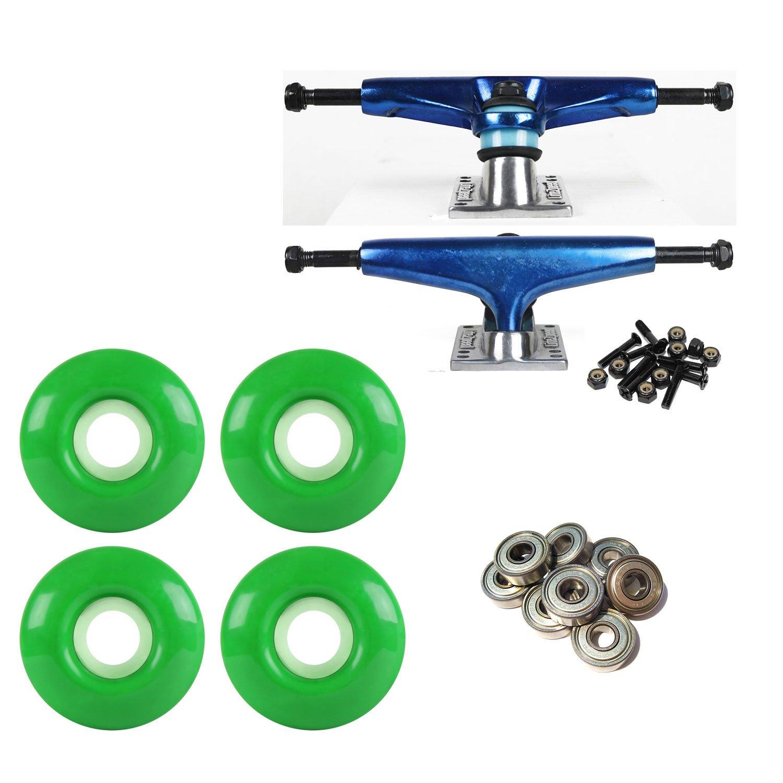 LiteZpeedスケートボードトラック ブルー/シルバー 52mm グリーンAbec 9ベアリングコンボ   B07BX1G5YL