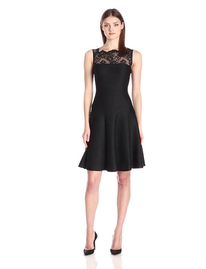 London Times Women's Lace Bodice Dropped Waist Full Skirt Dress, Black, 6