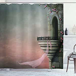 Ambesonne Gothic Shower Curtain, Old Tower with Medieval Style Balcony and Rose Ivy Horror Fiction Print, Cloth Fabric Bathroom Decor Set with Hooks, 70