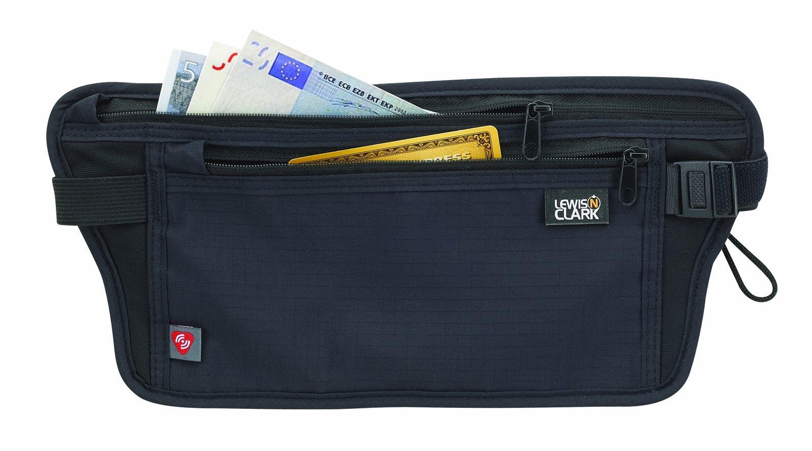Lewis N. Clark RFID-Blocking Waist Stash Anti-Theft Hidden Money Belt, Black, One Size