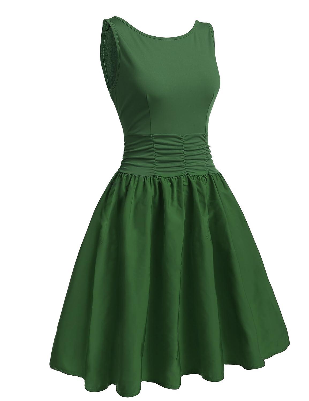 Meaneor Damen ärmellos Sommerkleid Skaterkleid Trägerkleid Swing Rockabilly Kleid Vintage Rückenfrei mit elastischer Taille