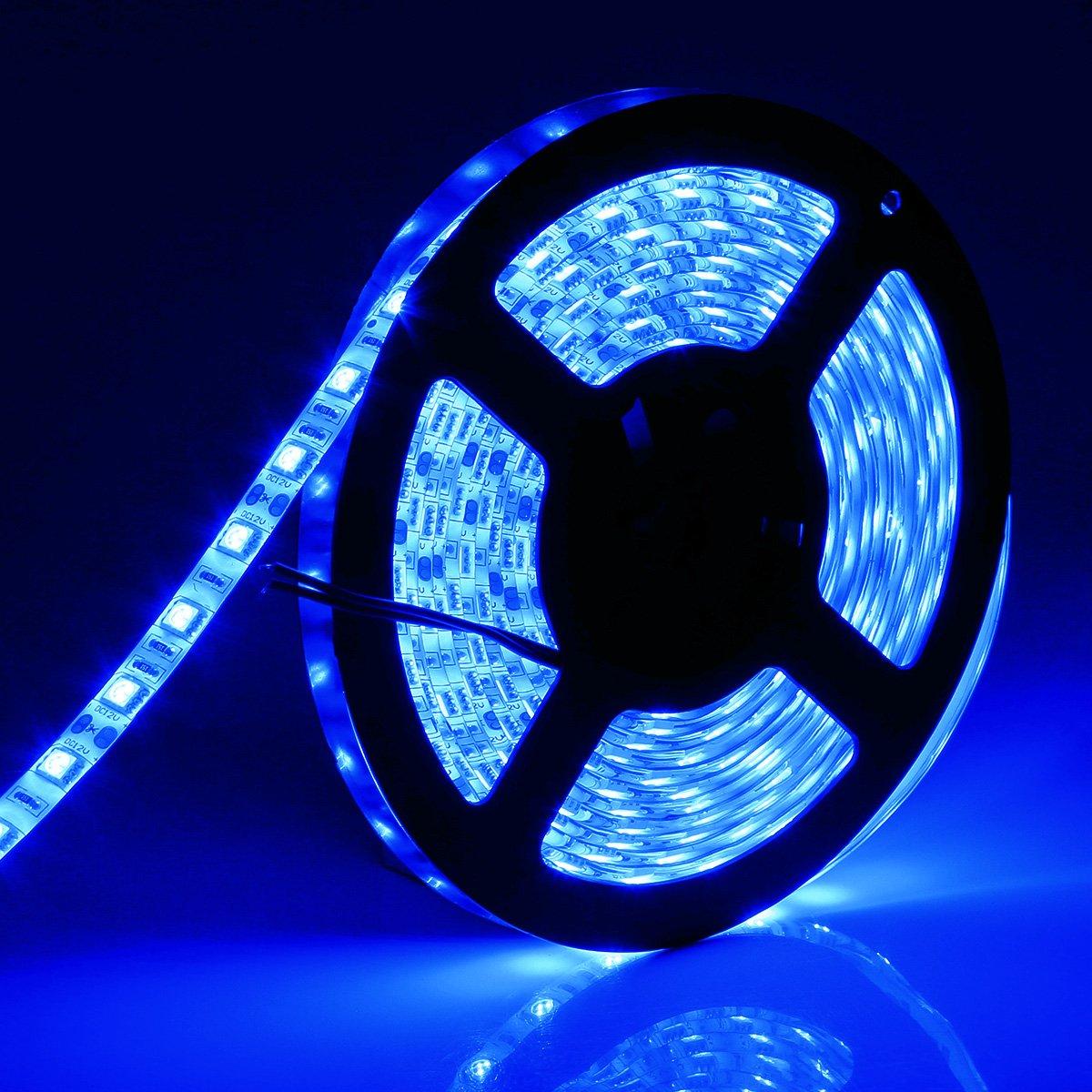 SUPERNIGHT 16.4ft/5M SMD 5050 60Leds/M Blue Waterproof Led Flexible Flash Strip 300 Leds LED Light Strip by SUPERNIGHT