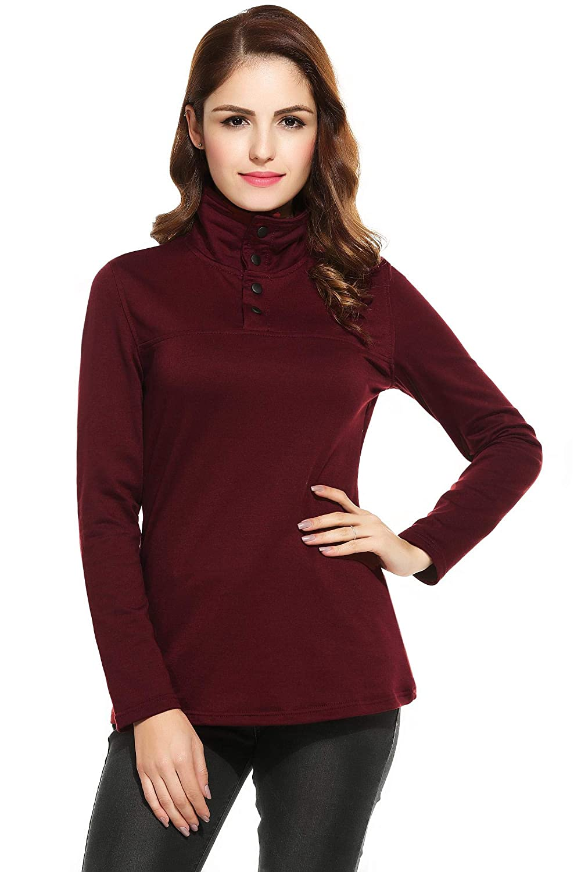 Tiowea Women Turtleneck Button Long Sleeve Solid Pullover Slim Fit Hoodies Tops Fashion Hoodies