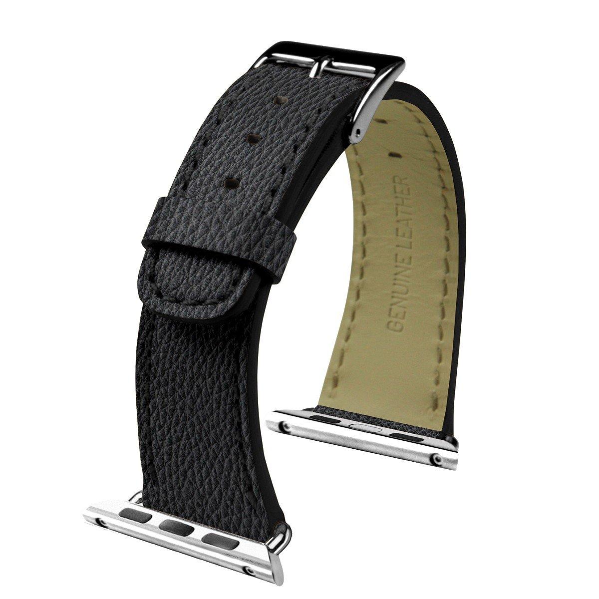 Lucrin - Apple Watch armband 42 mm - Klassisch - Schwarz - Leder genarbt