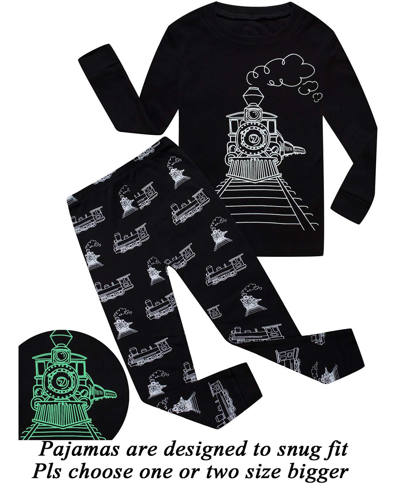 8c111f10217 Galleon - Little Pajamas Boys Sleepwear Train Glow-in-The-Dark Toddler Pjs  Kids Clothes Size 8T