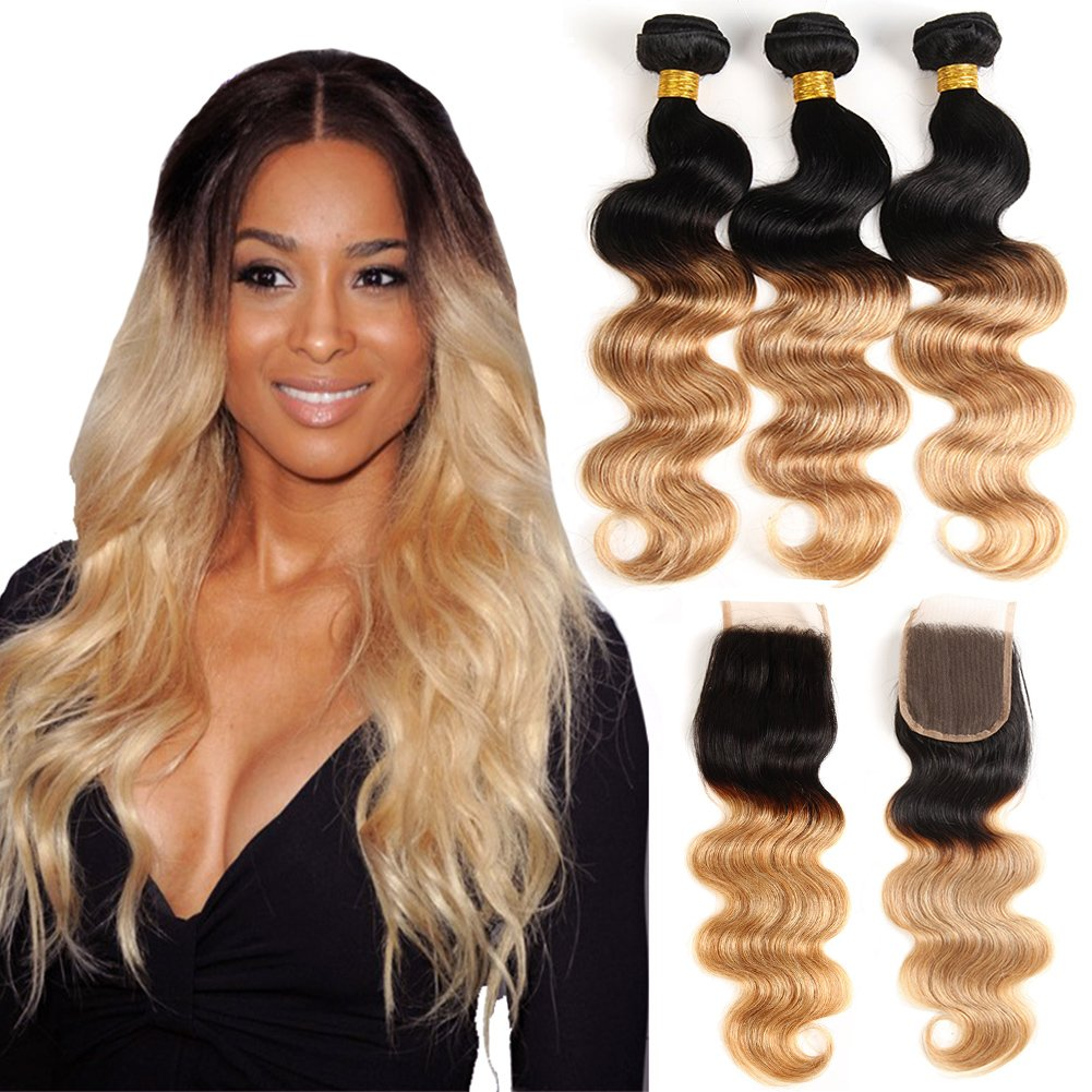 Ombre Brazilian Hair 3 Bundles With Closure, Ombre Human Hair Body Wave 3pcs With Lace Closure (20 22 24+18, #T1B/27) by Kapelli Hair (Image #2)