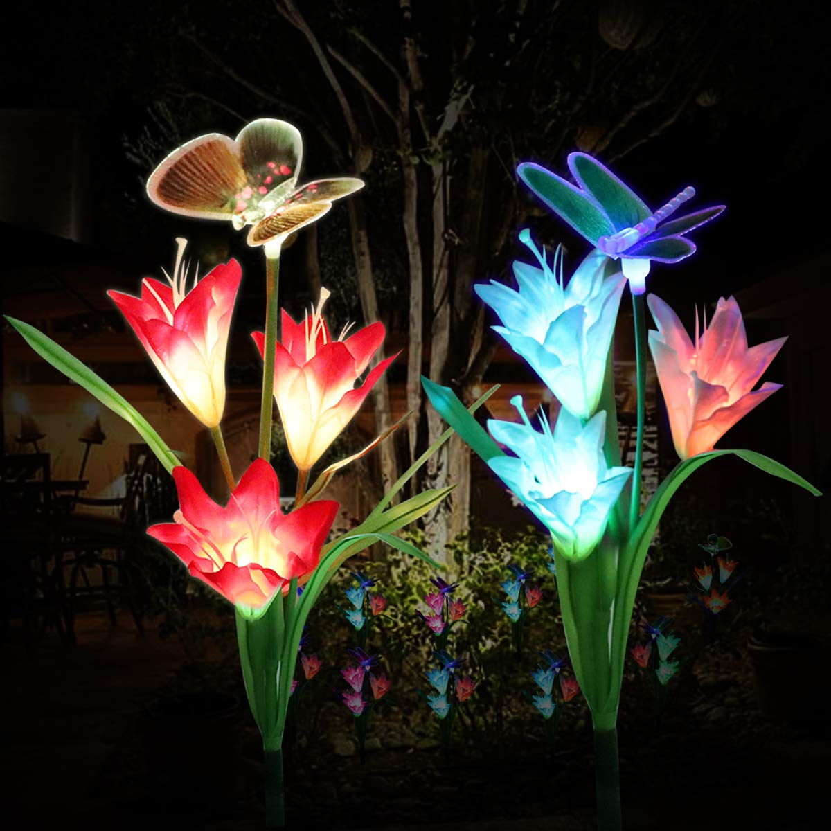 Solar Garden Lights Outdoor,WOHOME Solar Stake Lights Outdoor, Waterproof Multi Color Changing with 6 Lily Flowers,1 Butterfly,1 Dragonfly,Solar LED Decorative Lights for Garden,Patio,Backyard