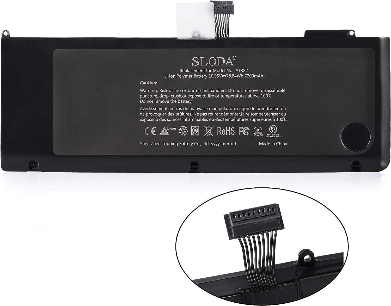 SLODA Batterie de Remplacement pour Apple Macbook Pro 15 A1382 A1286 D/ébut 2011 Fin 2011 Mi 2012 Compatible pour Macbook Pro 15 A1382 Batterie de Remplacement Li-Polymer 10.95V 7200mAh