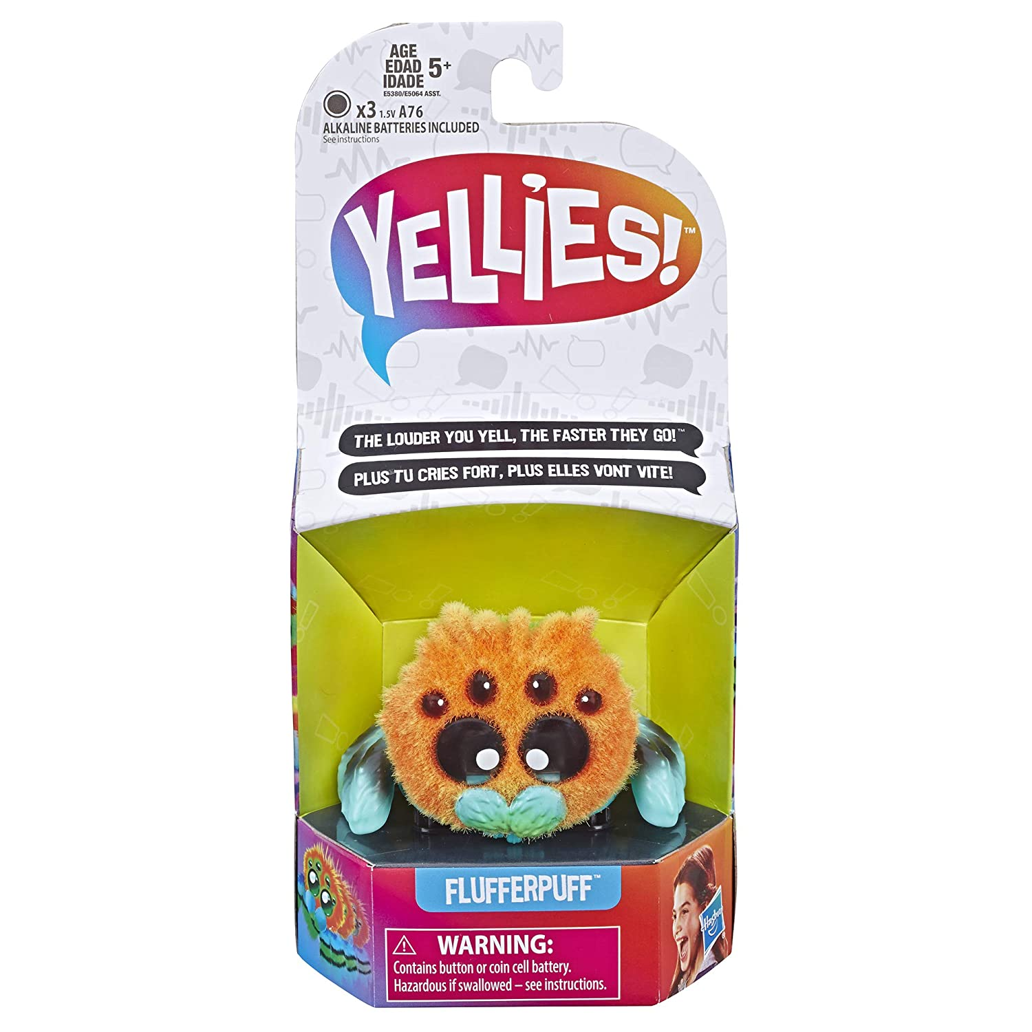 Yellies Flufferpuff; Voice-Activated Spider Pet; Ages 5 and up Hasbro E5380AS00