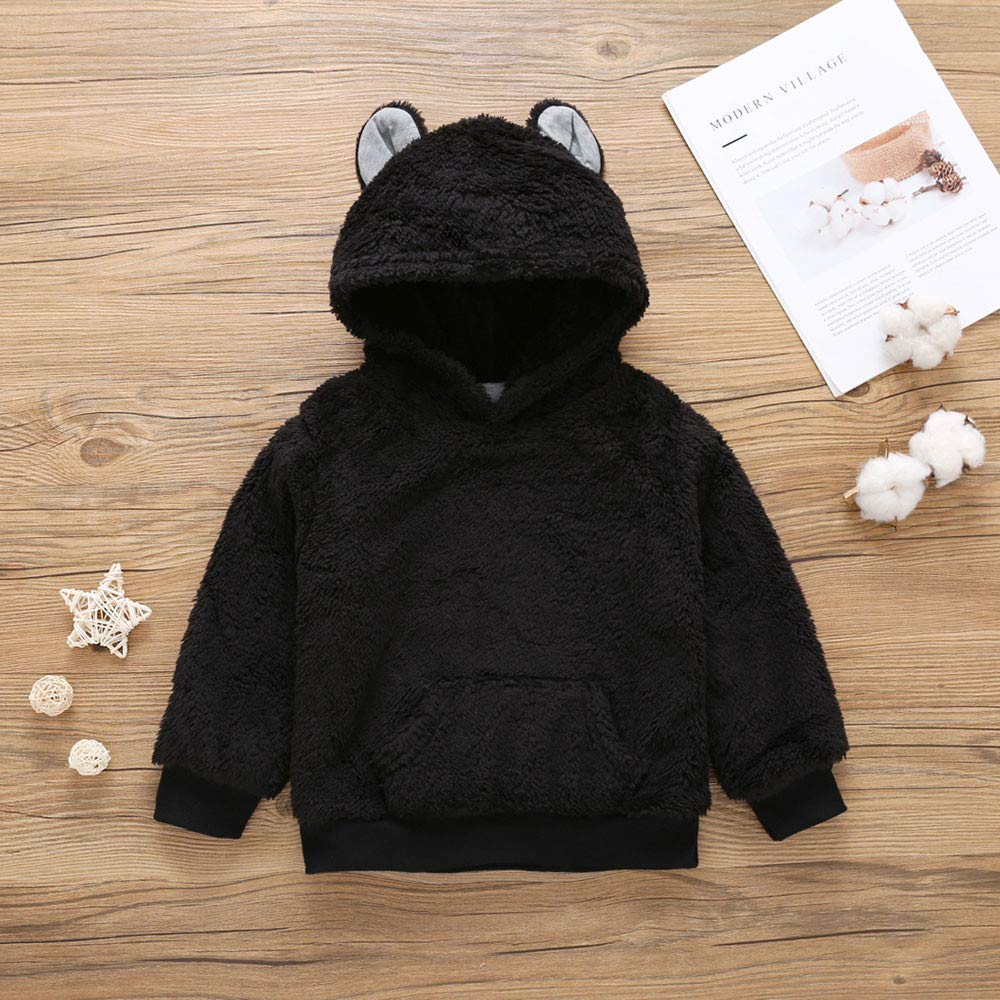 OCEAN-STORE Toddler Baby Girls Boys 18 Months-7T Long Sleeve Solid Hoodie Tops Fluffy Outfits Clothes