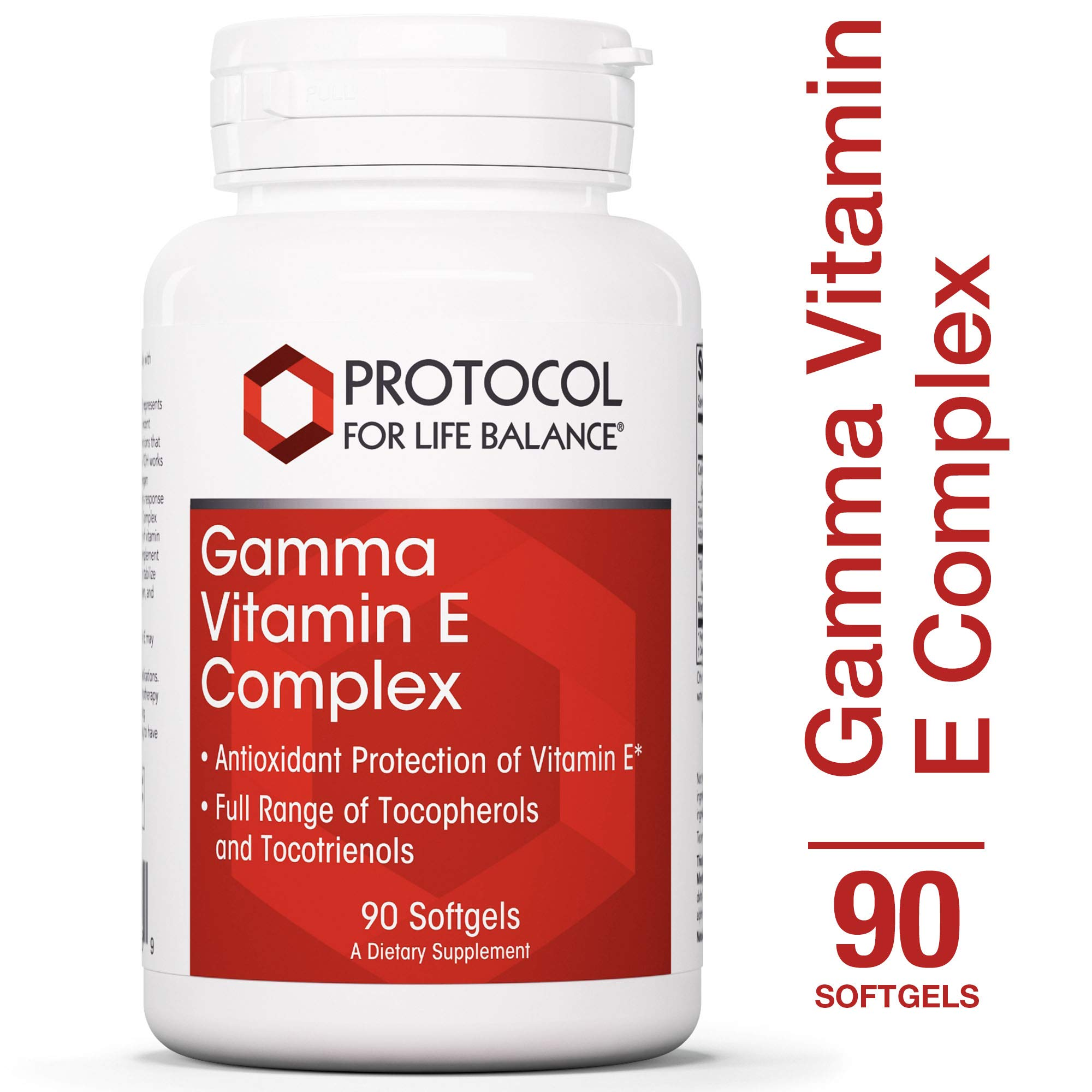 Protocol For Life Balance - Gamma Vitamin E Complex - Antioxidant Protection Supporting Immune Systems & Physical Endurance - 90 Softgels